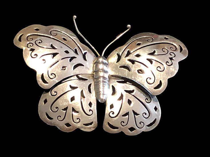 Mexico Sterling Silver Butterfly Brooch