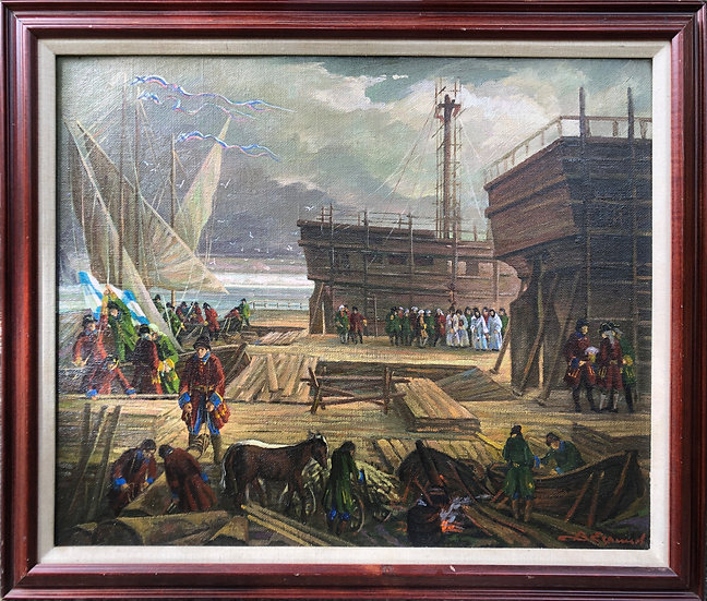 Antique Oil Painting Russian Harbour Military Ferry