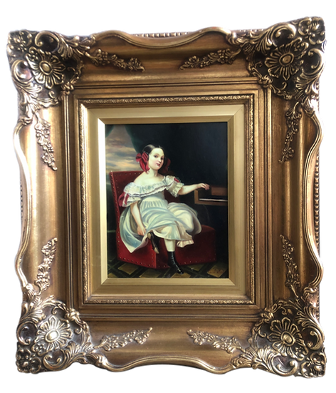 Antique Oil Painting on wood Miss Noble