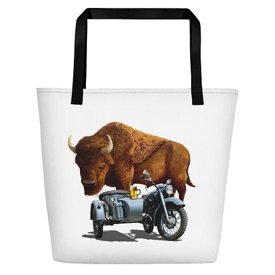 Bull and Motorcycle Girl Artist Beach Bag