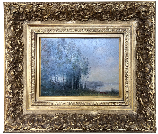 Antique Auction Framed  Oil Painting landscape by STEPHANO