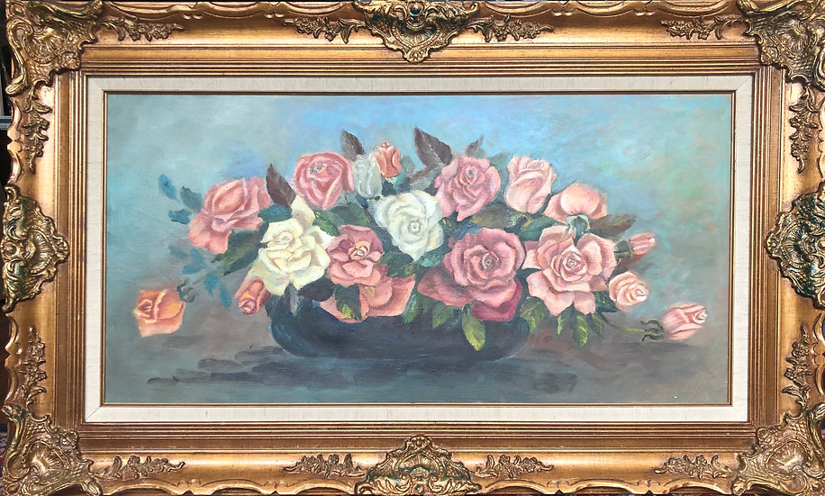Roses in Golden Frame Antique  Painting