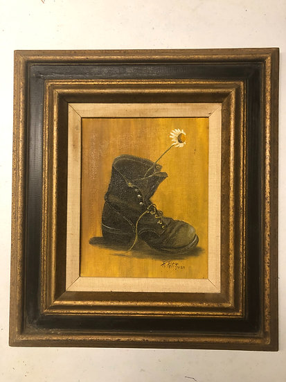 Antique Oil Painting Boot and Mum