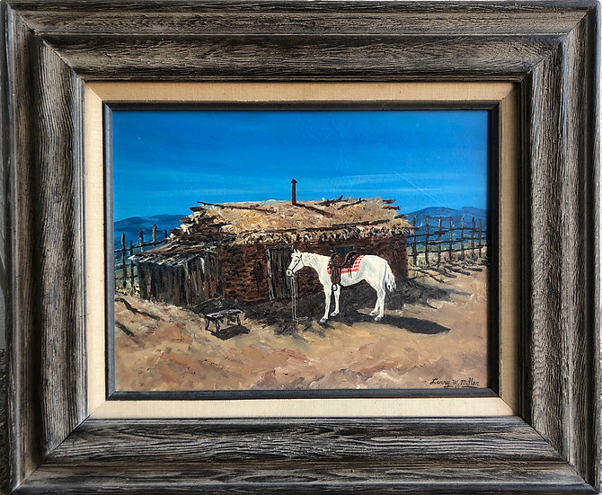 Antique Framed Oil Painting White Horse /Leather Saddle 1977 by Larry W. Miller