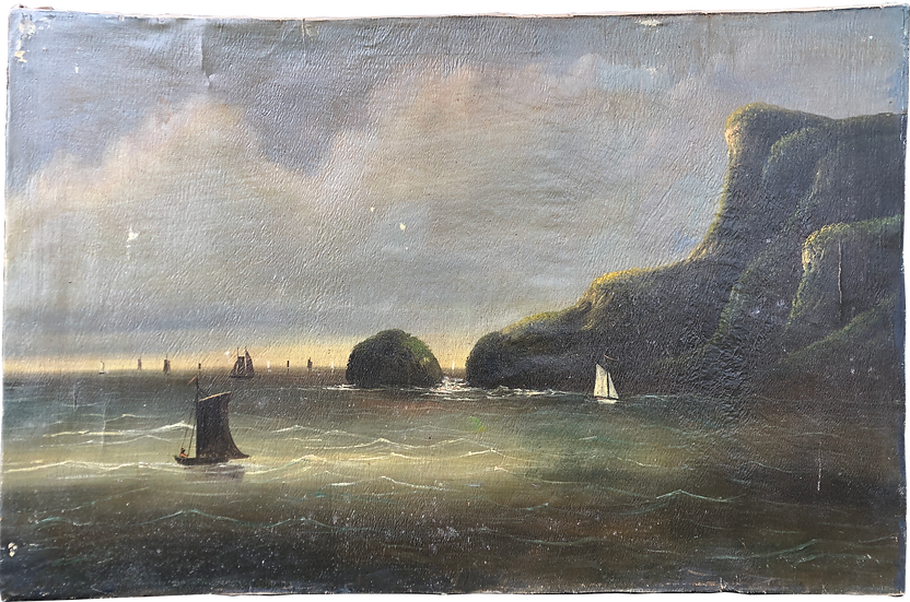 Antique Oil Painting Unframed Boats Cliff