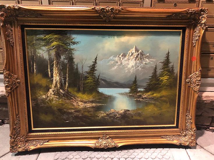 Antique Oil Painting Landscape Snowing Mountain