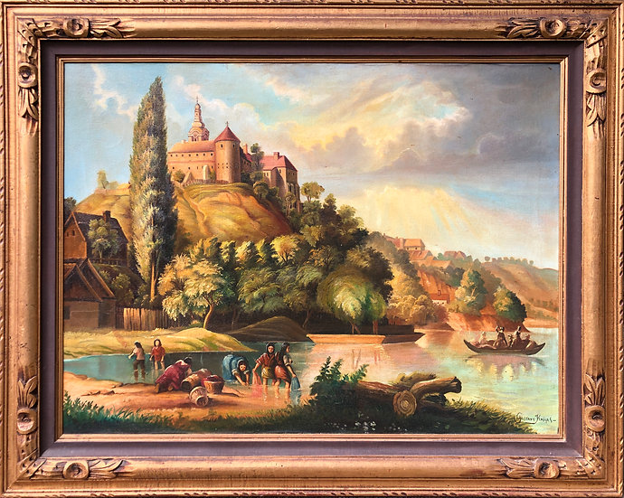 Antique Oil Painting on canvas Castle Signed GUSTAVA KASIYAS