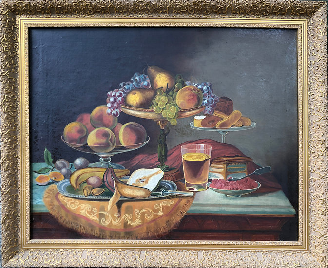 Antique Oil Painting Still Life Afternoon Tea