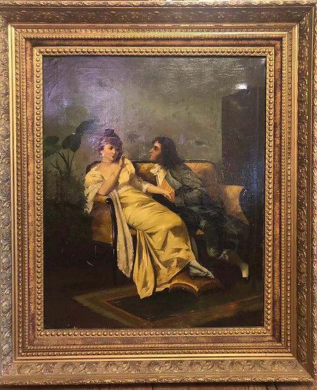 Rare  Antique 1850 Oil Painting- Propose