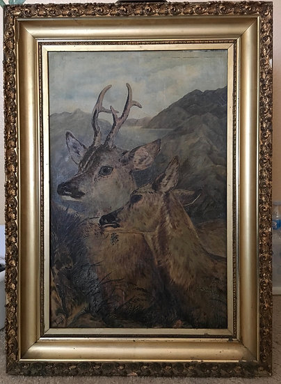 Antique 19th Oil Painting  A Pair of Deers