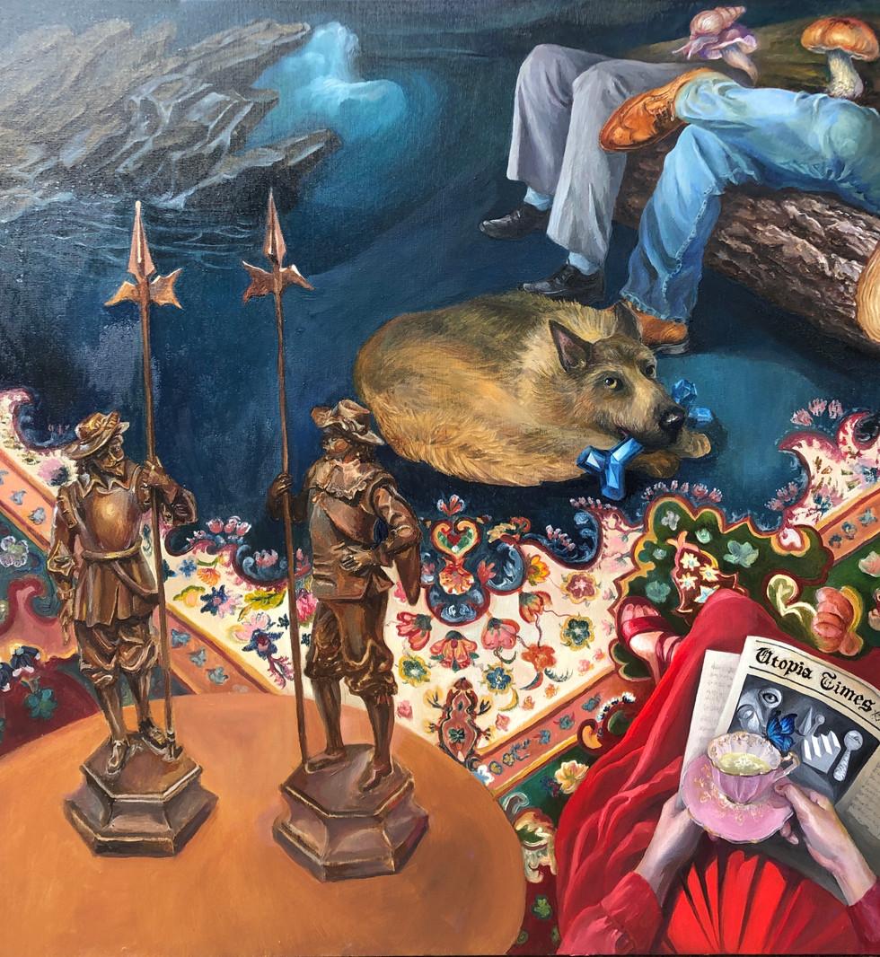 Oil Painting The Treasure  Guardian of Sapphire Bones