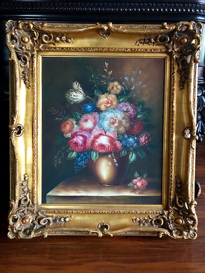 Antique Flowers Still Life Oil Painting by B. Paulson
