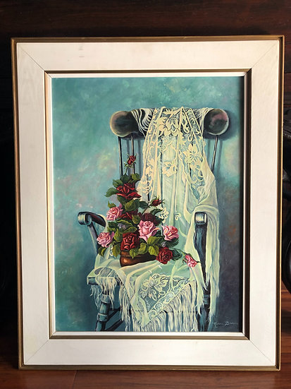 Roses on chair Oil Painting  by Karen Brown