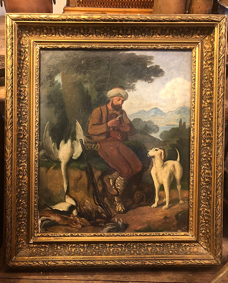 Antique Oil Painting  Hunter