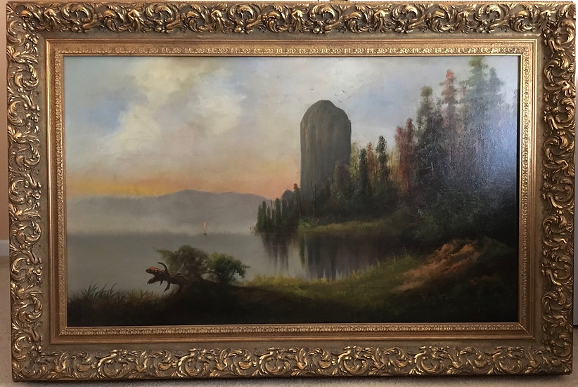 Antique oil painting  Rooster Rock