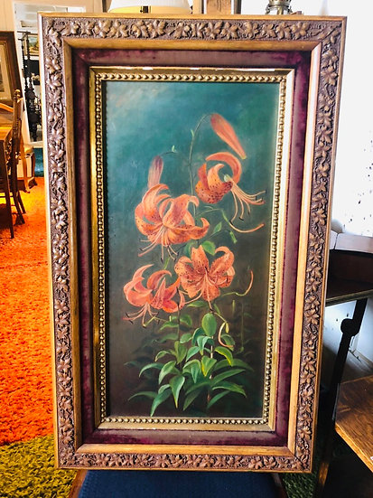 Antique Oil Painting Lily