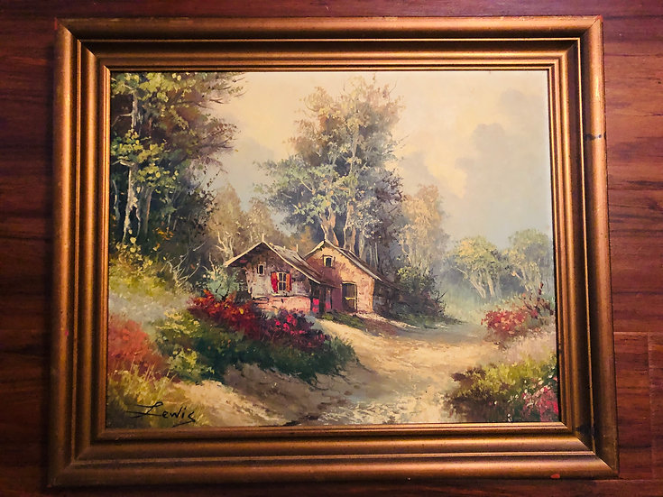 Antique Oil Painting landscape County Side