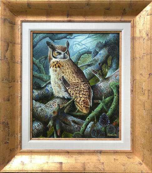 Original Realism Framed Oil Painting on Canvas Owl in Forest Signed Eastman