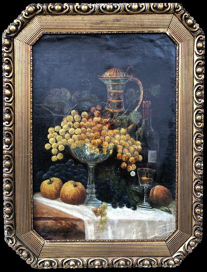 Antique Oil Painting Wine Feast