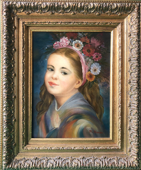 Oil Painting Cute GIrl Wearing Flowers