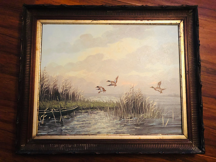 Antique Oil Painting ducks on the lakeshore