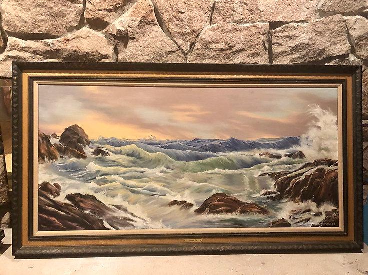 Oil Painting Wave in Antique Frame by Sheats