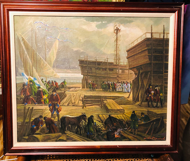 Antique Oil Painting Military Harbour