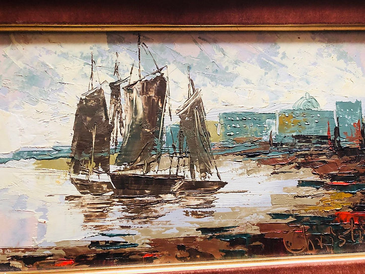 Antique Oil Painting Frame Sailing Boat