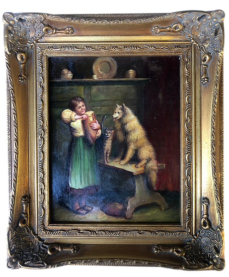 Small Antique Oil Painting A girl Sharing Bread to Dog and Cat