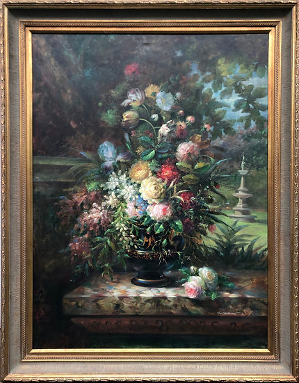 Large Original Oil Painting Floral signed by Van E Eray