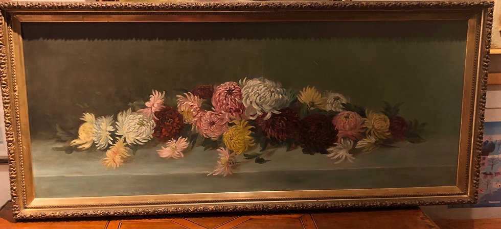 Antique Oil Painting Chrysanthemums
