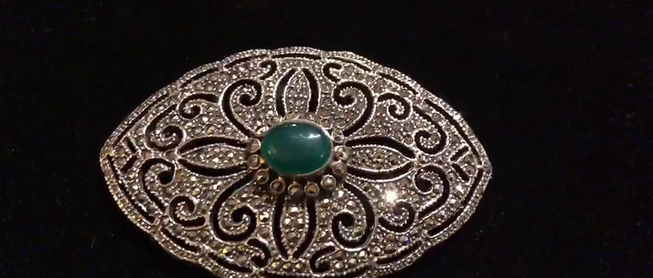 Signed 925 Silver Jade and Shiny CZ Art Deco Brooch Pin Highly Detailed