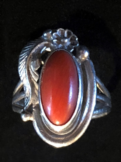 Native American Sterling SIlver  AkA Coral Ring SZ 6