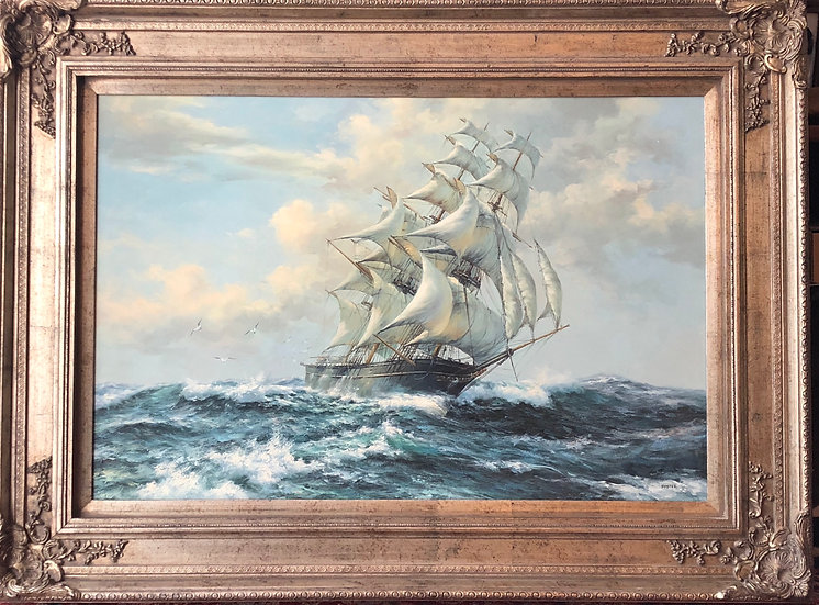 Antique oil painting Sailing by Foster