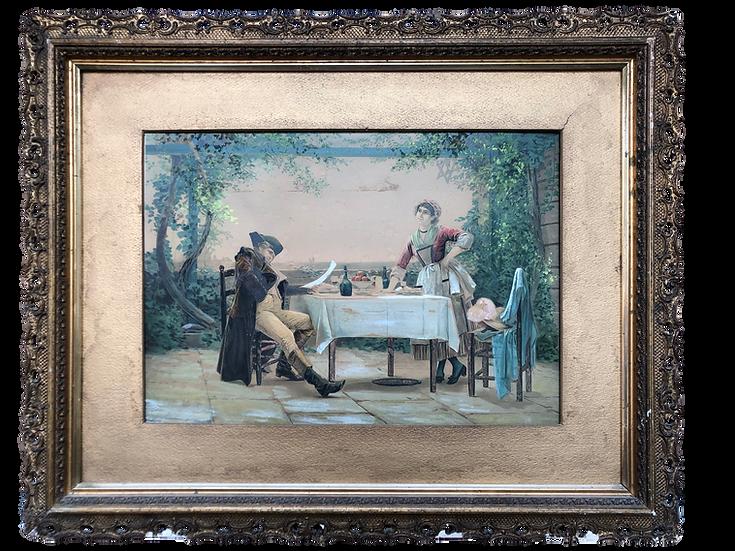 Rare Antique Tempera  Painting Napoleon at Saint Helena Island