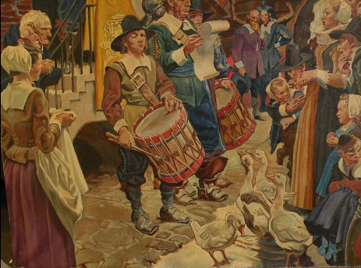 DEAN CORNWELL (1892-1960) large painting commemorating 300th anniversary of New