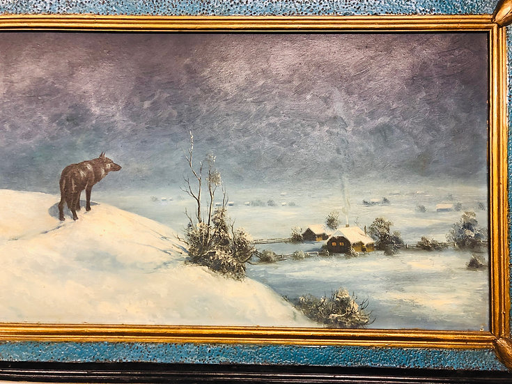 Antique Oil Painting on Board Snowing night Wolf