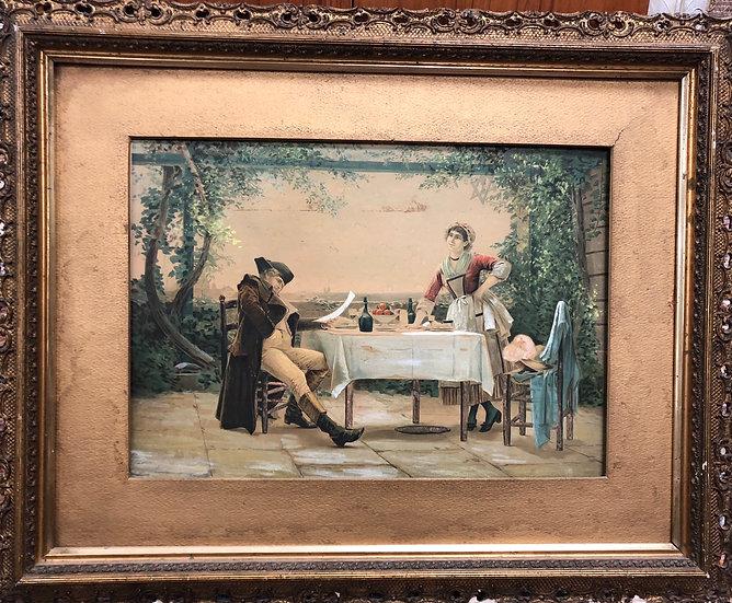 Rare Antique Tempera  Painting Napoleon
