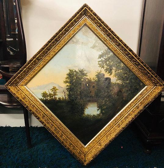 Antique Landscape Oil Painting on Rhombic Frame