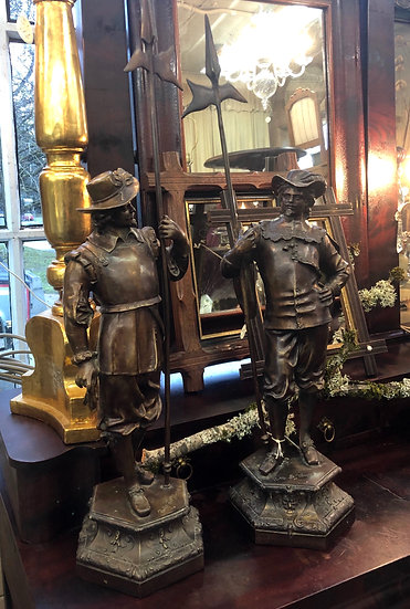 Antique Early 19th Bronze Sculpture A Pair of Soldiers