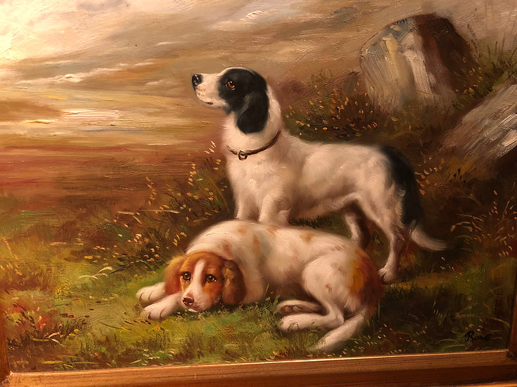 Dogs Oil Painting 1980