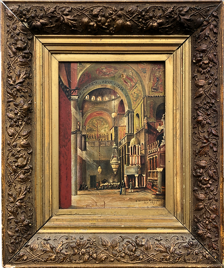 ANTIQUE OIL ON CANVAS PAINTING, 1894, OF ST. MARTIN CHURCH, IN ANTIQUE GOLD GILD