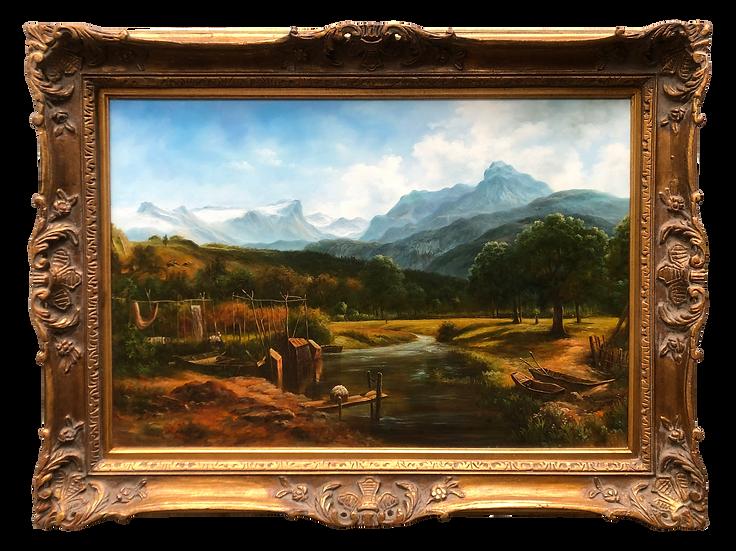 Large Original oil painting landscape framed 42x32