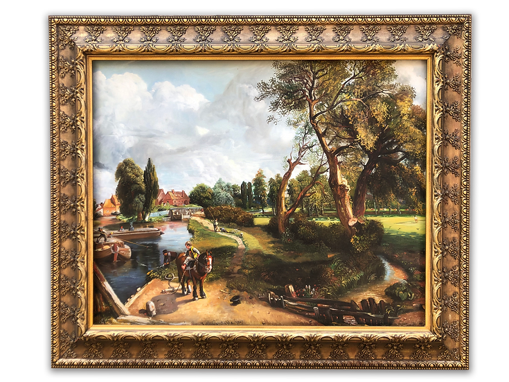 Framed Oil Painting A Boy Riding a Pony Country Scenery