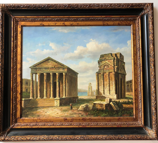 Antique Oil Painting Rome Temple