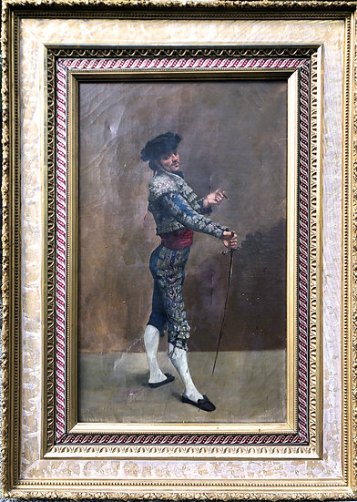 Rare Antique Oil Painting Spanish Bullfighter Smoking