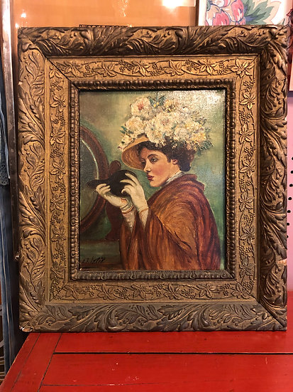 Antique Oil Painting woman with Flowers Hat by O. K. Petip