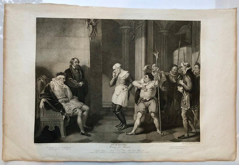 《Measure for measure》London 1803 Original Limit Etching Print Shakespeare