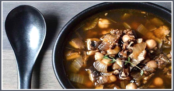Chorizo Soup with Shiitake Mushrooms & Chickpeas