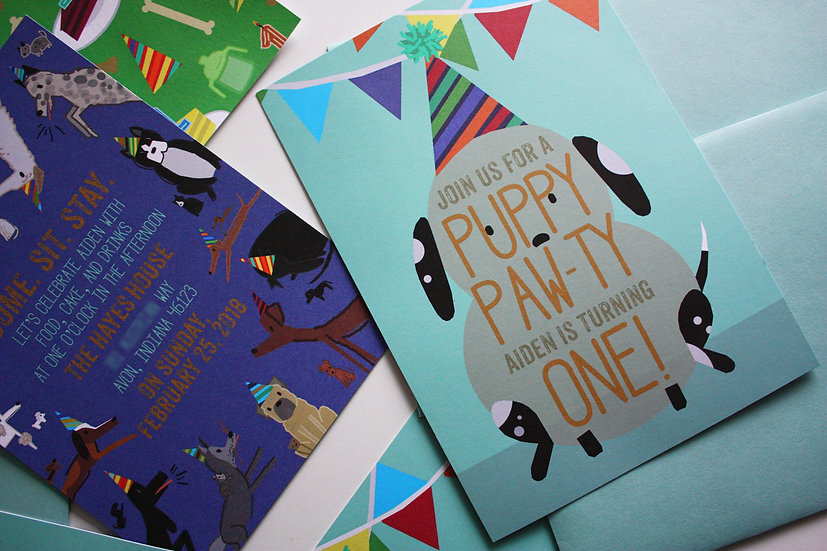 PUPPY PAW-TY BIRTHDAY PARTY INVITATIONS (digital files)